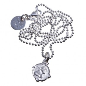 zarter Schutzengel mit Kugelkette, Silber graviert