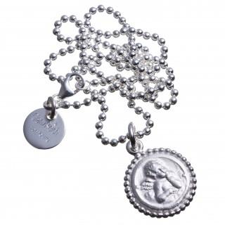 Engel mit Perlrand Silber graviert